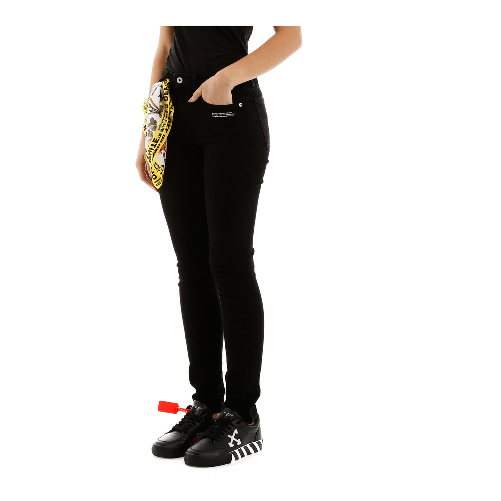 Off White Black Jeans with scarf Off White