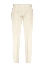 Pleat-front trousers with cut-out