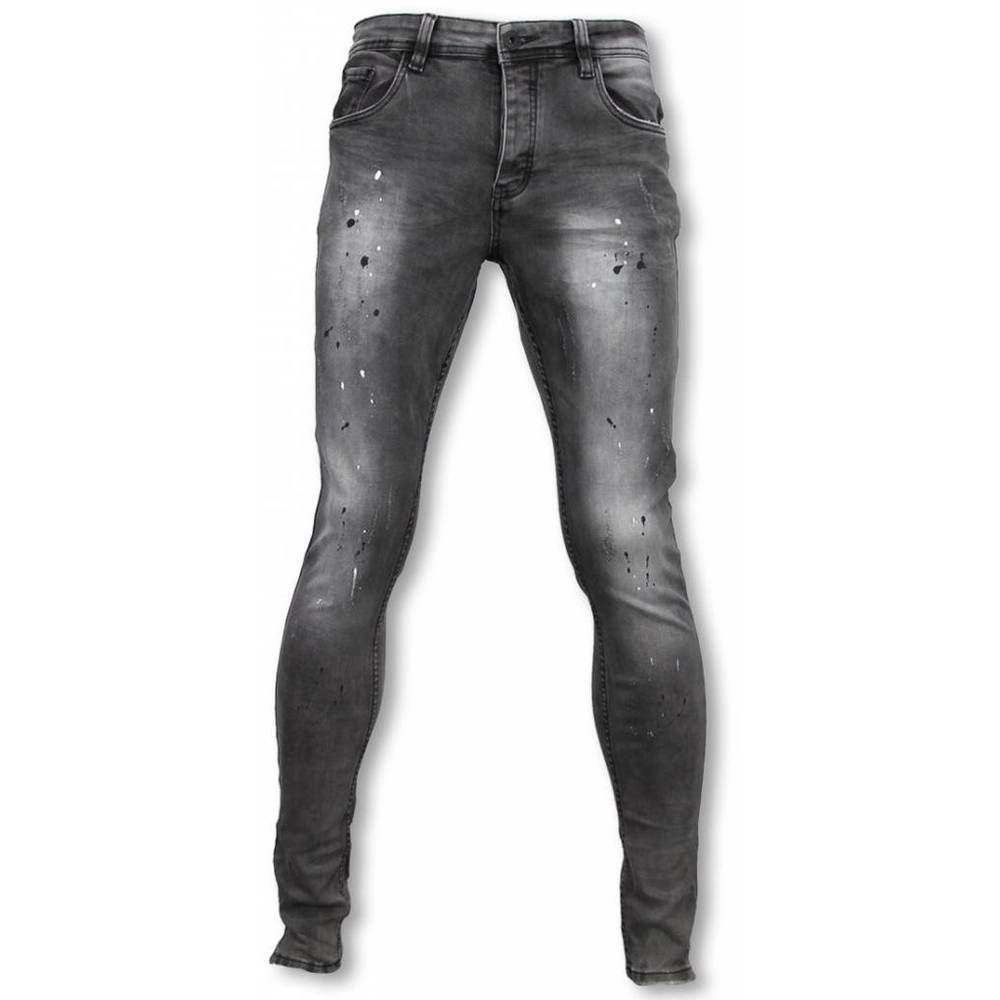 Slim Fit Plain Jeans With Paint Drops