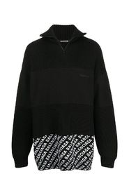 Logo print panelled zip up Jumper