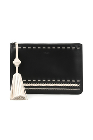 Woven details leather clutch