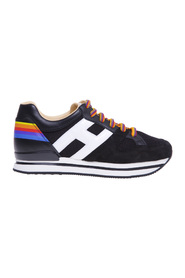 H222 sneaker in suede and rainbow print fabric