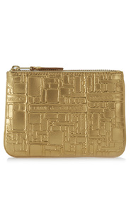 Wallet golden leather with pattern