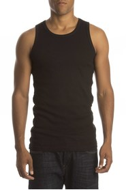 Claesens Mens Singlet rib black (two pack)