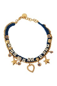 Brass Charm Crystal Star Luna Chain Necklace