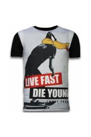 Duck Live Fast - Digital Rhinestone T-skjorte