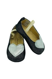 GLITTER BALLERINA WITH SILVER HEART IN POINT