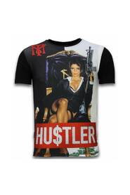 Hu $ tler - Digital Rhinestone T-skjorte