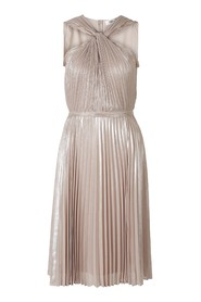 Pleated Metallic Dress