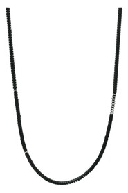 Matte Onyx Heishi Necklace with Faceted Hematite