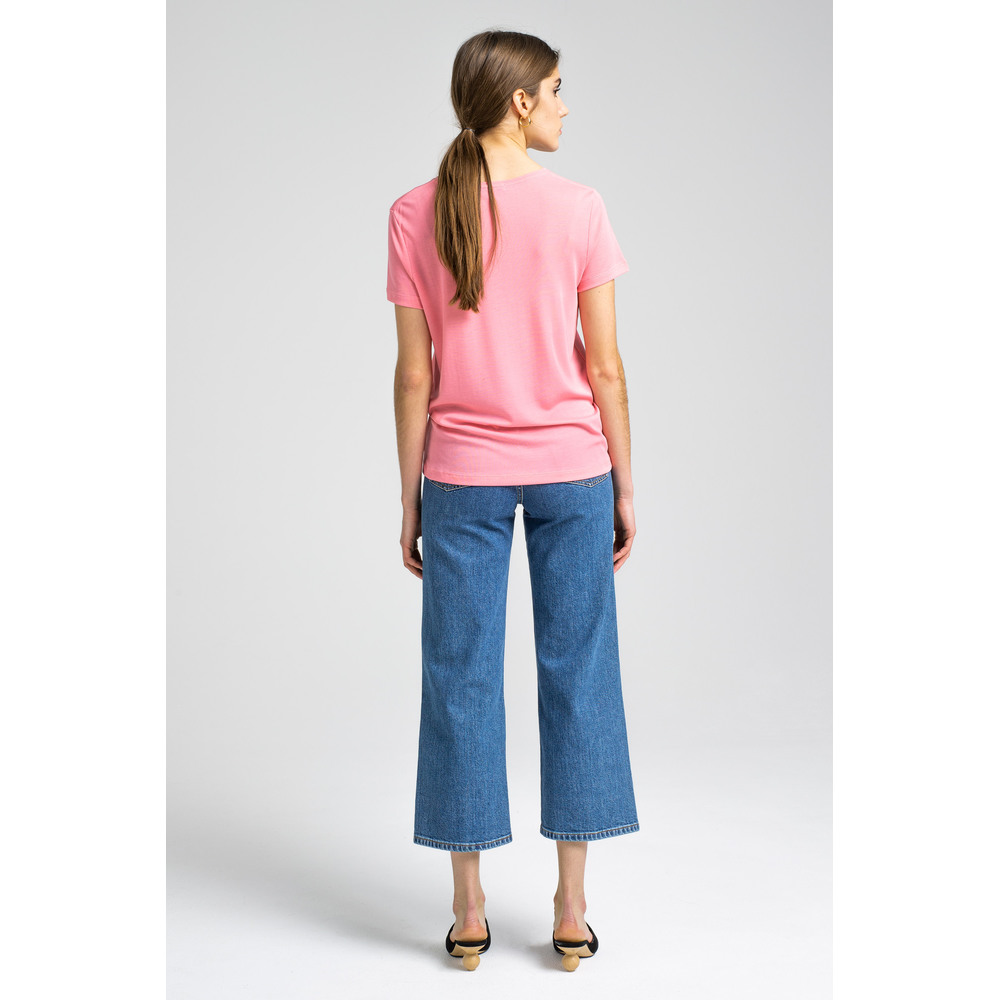 Pink Upama Rib Top  House of Dagmar  T-shirts