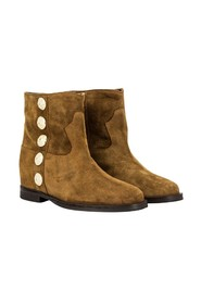 Velor ankle boots with gold buttons