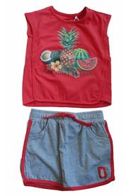 Knot so Bad 5610 t-shirt rok ananas grijs rood