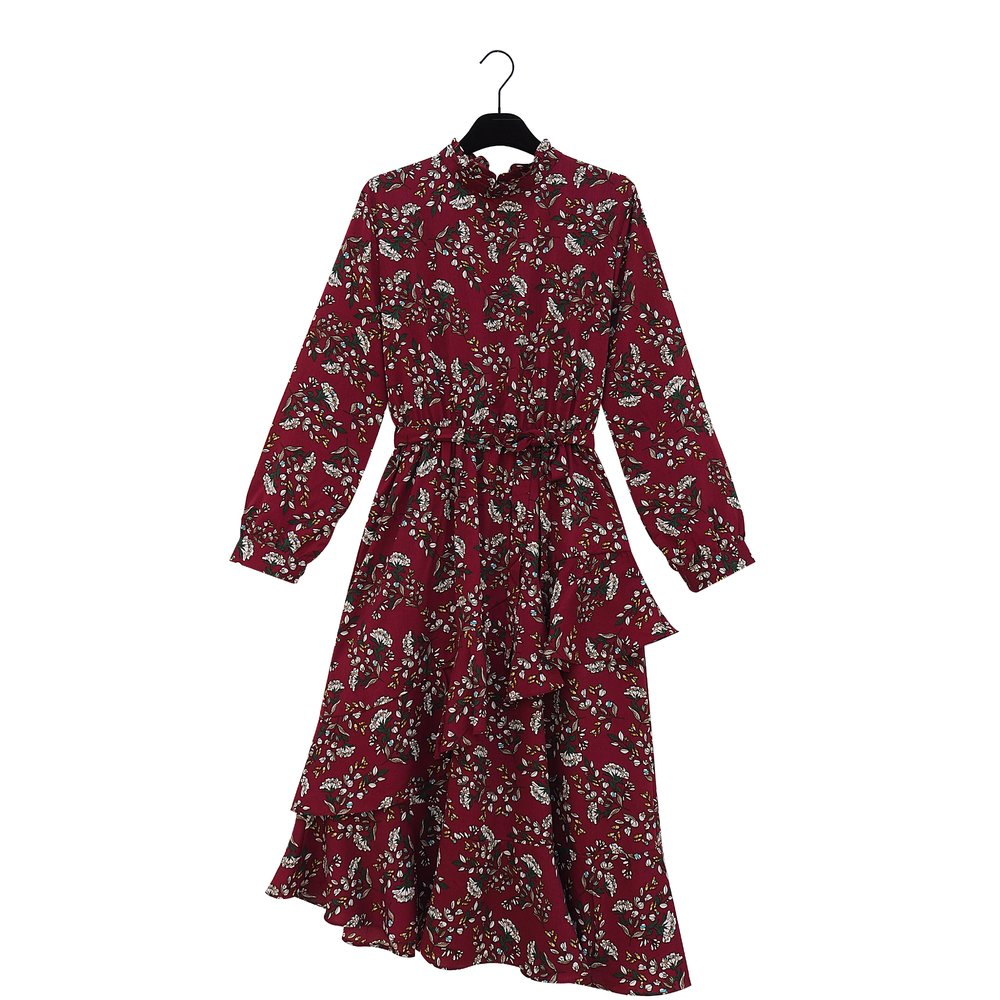 ROSALINDA Bordeaux Flower Print Ruffle Dress
