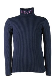 high collar knit jumper