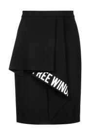 slogan-print ruffled-detail skirt