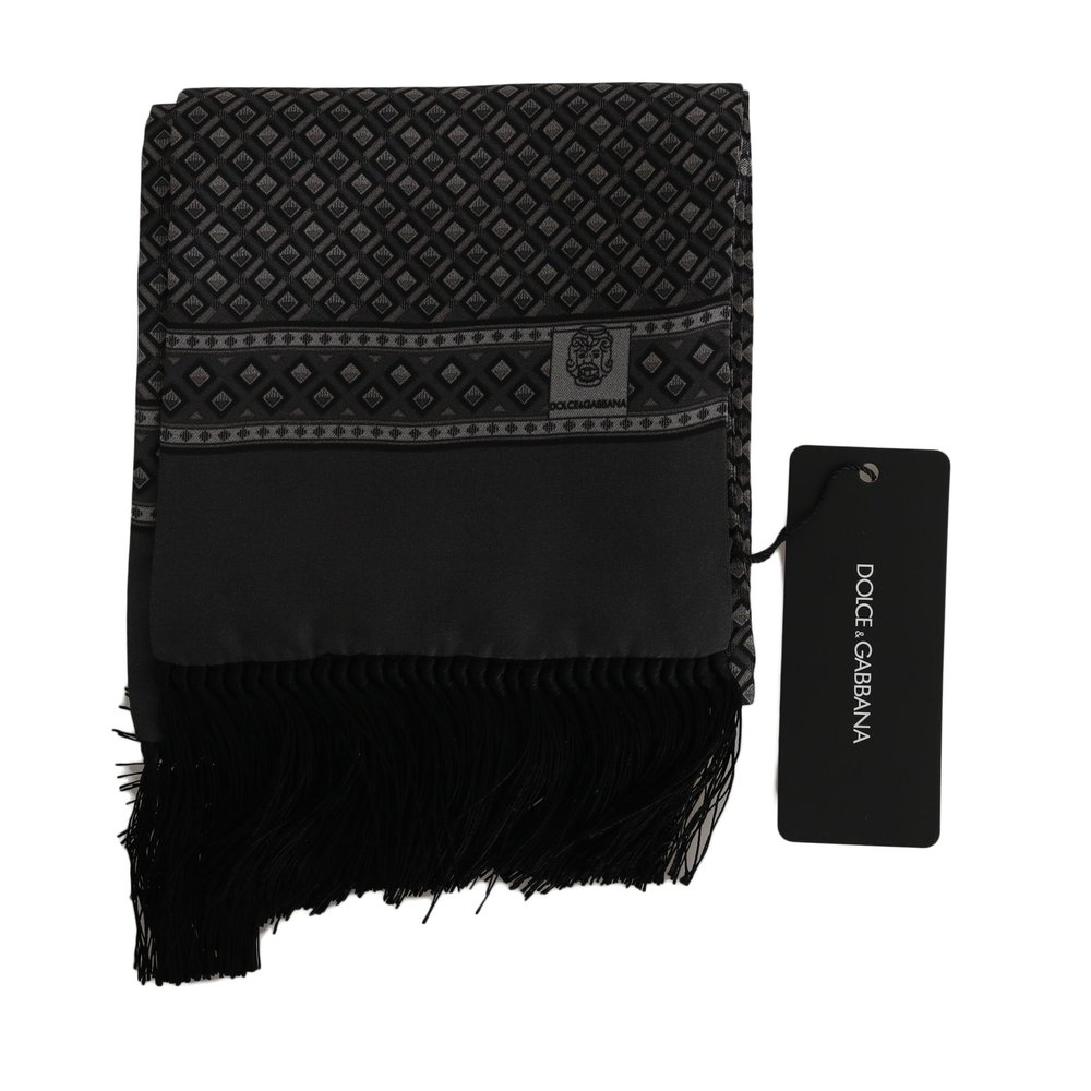 Gray Baroque Fringes Herens Wrap Shawl Scarf   Dolce  Gabbana   Sjaals   Heren accessoires