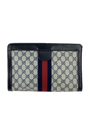 Monogram Canvas Cosmetic Bag Clutch with Stripes