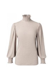 Top with smocked high neck and cuffs in viscose
