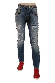 Distressed Embellished Buttons Denim Pants Jeans