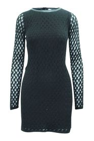 Mesh Dress with Leather Trim