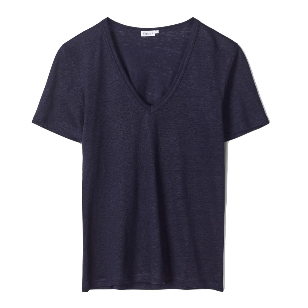 Filippa K Deep V-neck Linen Tee Navy