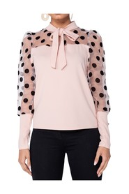 Polka Dot Organza Sleeve Tie Neck Blouse