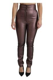 Metallic High Waist Skinny Cotton Pants