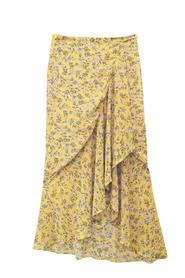 LILLY Yellow Flower Print Wrap-Skirt
