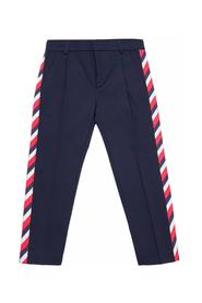 Trousers with a crease and stripes
