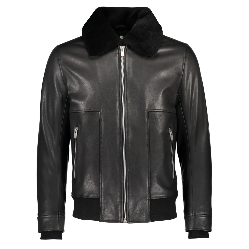 Leather jacket with fur collar