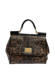 Leopard Print Coated Canvas and Leather Top Handle Bag