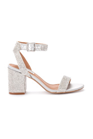 Malia silver heeled sandal with sequins.