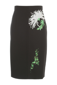 PENCIL SKIRT WITH FLORAL PATCHES