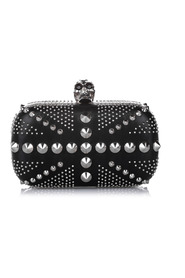Studded Britannia Skull Leather Clutch Bag