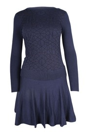 Knit Long Sleeves Flared Dress