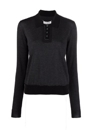 Contrasting-panel Polo Jumper
