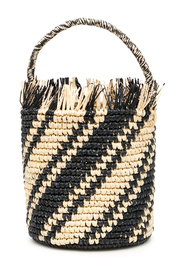 Striped wicker bag