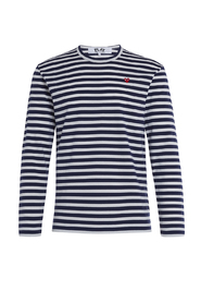 Play sweater with blue and white straps