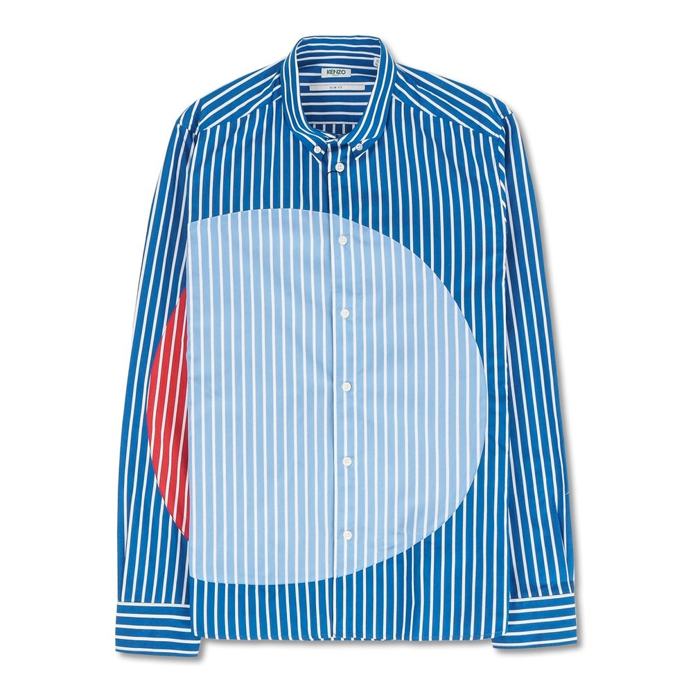 Patched Striped Slim Fit Shirt