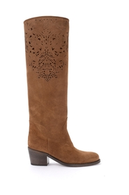 Taupe suede boot with embroidery