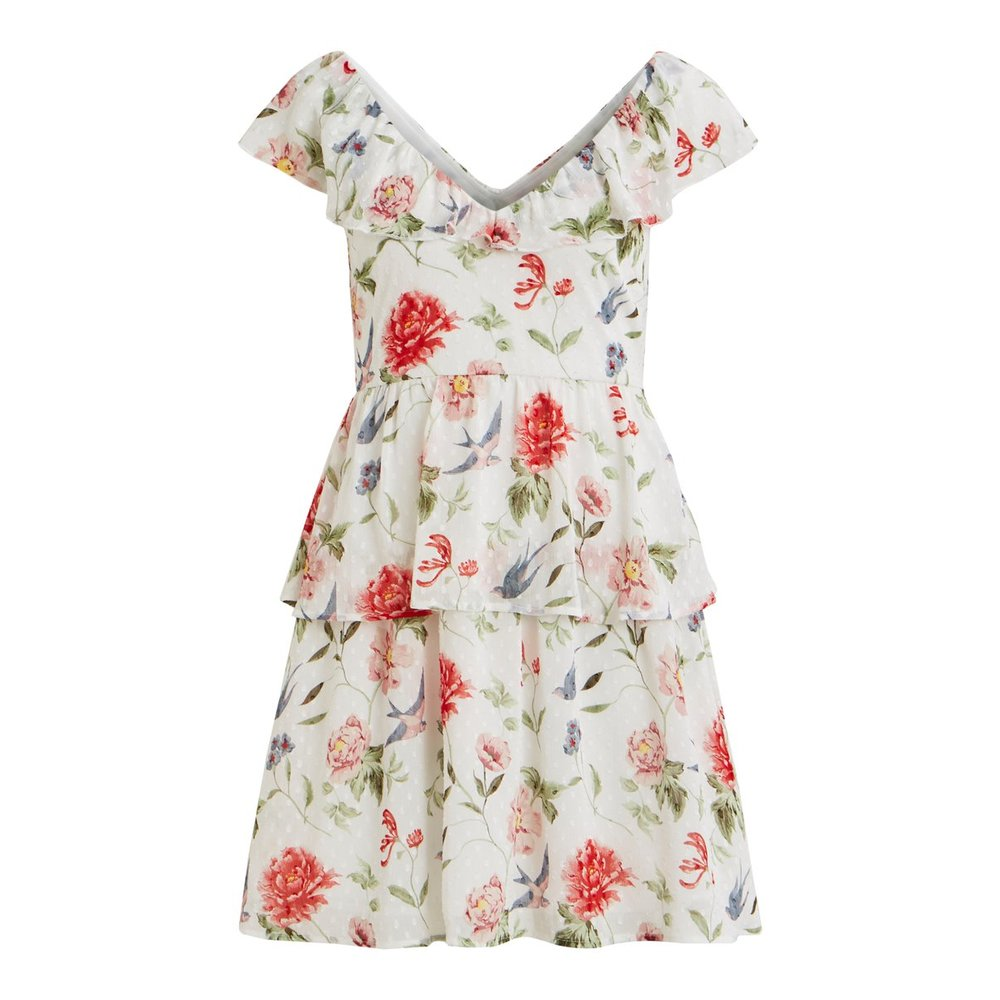 Short sleeved dress Floral ruffle detailed