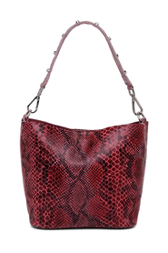 Annamary Rød Snake Print Bucket Bag
