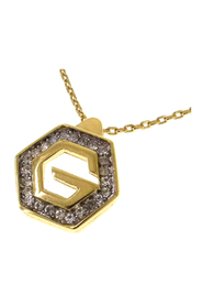 Hexagon G Logo Rhinestone Pendant Necklace