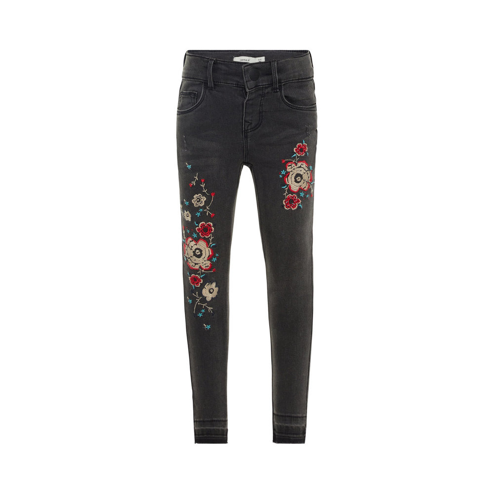 Jeans skinny fit floral embroidered super stretch