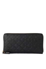 Black printed leather wallet