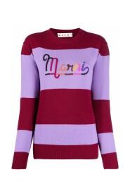 Logo-embroidered striped jumper