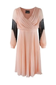 Longsleeve Pleated Dress with Lace Detail