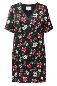 Straight V-neck Dress with Flower print