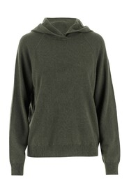 Sweater with non-removable hood Long sleeves Dropped shoulders